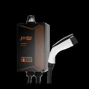 Juicebox Pro smart laddbox för elbilen. Ladda elbilen med hög kraft. Laddstationer och laddkablar. Emotorwerks.