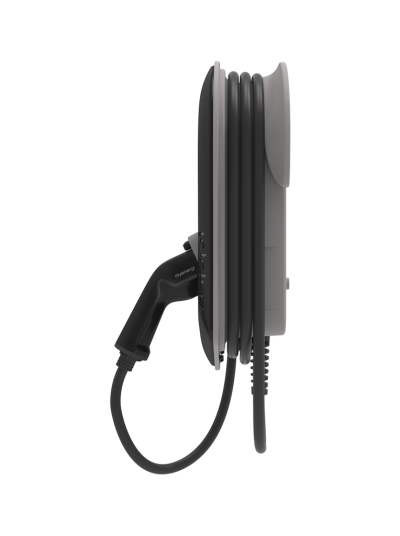 Zappi V2 charging box laddbox trefas 3-phase ladda elbilen EV_Solution laddkabel charging cable black sidovy