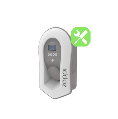 Zappi V2 vit med uttag installation laddbox charging box laddstation solceller trefas 3-phase ladda elbilen EV_Solution laddkabel charging cable white sidovy